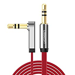 Ugreen 3.5mm Auxiliary Audio Jack to Jack cable 90 Degree Right Angle for Apple iPhone, iPod, iPad, Samsung,Smartphones & Tablets and Speakers,24K Gold Plated Male to Male (1.5FT, Red)
