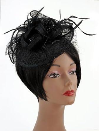 NYfashion101(TM) Cocktail Fashion Sinamay Fascinator Hat Flower Design & Net S102651-Black