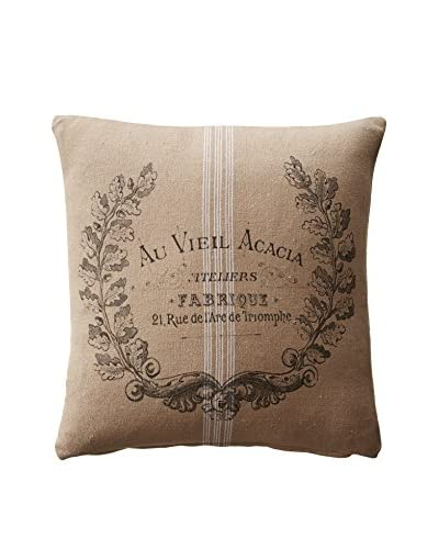 French Laundry Chrissy Pillow with Crest, Cream/Khaki