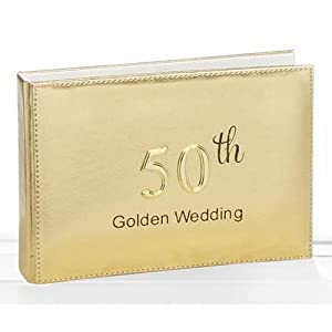golden 50th wedding anniversary photo album 4x6 holds 24 pictures kitchen home. Black Bedroom Furniture Sets. Home Design Ideas