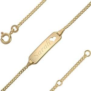 333/- Gelbgold Baby Mädchen ID Armband mit Herz 12 cm / 14 cm mit Wunsch-Gravur (6 Zeichen)