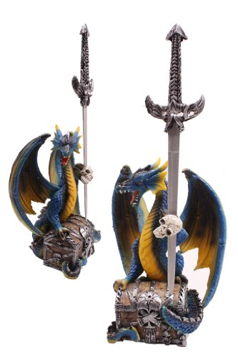 """12"""" Polyresin Dragon With Skull And Letter Opener"""