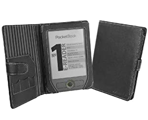 Cover-Up PocketBook Basic 611 eReader Leather Cover Case (Book Style) - Black from Electronic-Readers.com