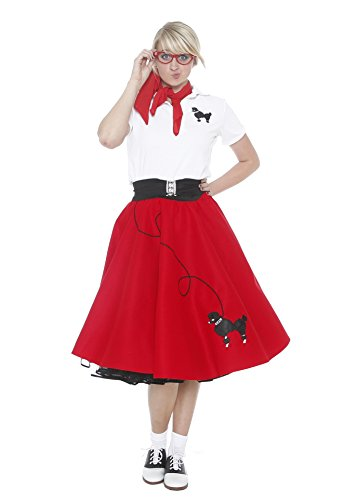 Hip Hop 50S Shop Adult 7 Piece Poodle Skirt Outfit - Large Red