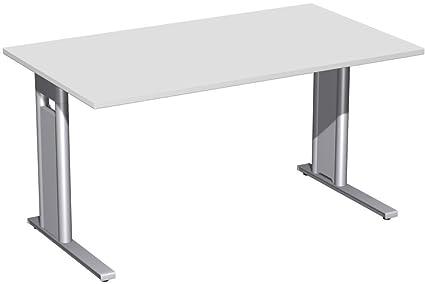 Scrivania fisso, C piede per luce, 1400x 800x 720opzionale, Grigio/Argento, Gera mobili
