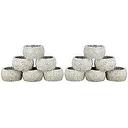Handmade Indian Silver Beaded Napkin Rings - Set of 12 Rings