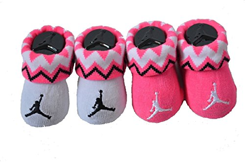 New Nike Jordan Jumpman 23 Baby Booties, Pink White, 0-6 Month, 2 Pair.