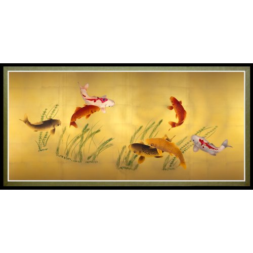 Oriental Furniture Seven Lucky Fish Canvas Wall Art (Chinese Fish compare prices)