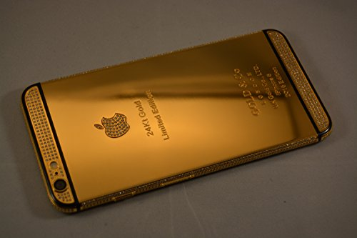 Bestsupply2u discount duty free Apple iPhone 6 Plus - 128GB 24K Gold Plated Diamond Crystals with Black Stripe/Factory Unlocked/International