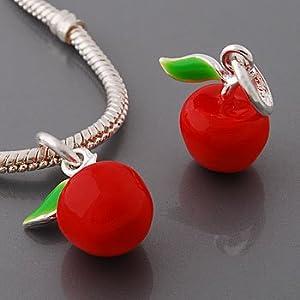 Believe Beads © Red Apple Charm Bead will fit Pandora/Chamilia/Troll Type Bracelets. Slide on slide off