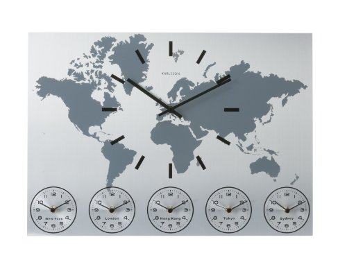 Karlsson Wall Clock Worldtime, Aluminium