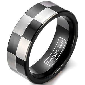 tungsten love 8mm mens black ip tungsten carbide wedding ring with