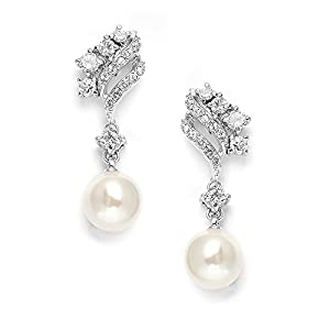 Mariell Graceful Ivory Pearl Drop Wedding Bridal Earrings with Abstract Cubic Zirconia Styling