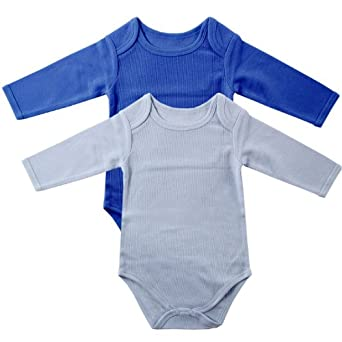 2-Pack Thermal Long Sleeve Bodysuits, Blue, 0-3 months