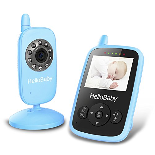 Hello Baby HB24 Wireless Audio Video Baby Monitor Security Camera with Night Vision & Temperature Monitoring, 2 Way Talk Talkback System and VOX Mode (Blue)