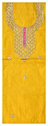 Astha Boutique Women's Synthetic Kurta Fabric (Yellow)