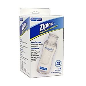 The First Years 110 Pack Ziploc Brand Disposable Bottle Liners, 8 Ounce