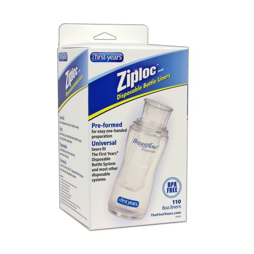 The First Years 110 Pack Ziploc Brand Disposable Bottle Liners, 8 Ounce front-952207