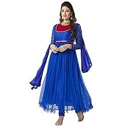 Cenizas New Arrival Blue Colour Net Material Semi-Stiched Salwar suits