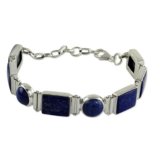 NOVICA Lapis Lazuli .925 Sterling Silver Link Bracelet, 6.75