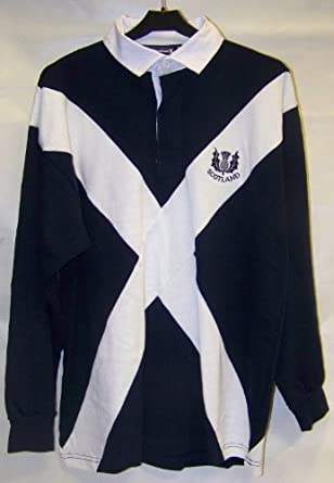 SCOTLAND SALTIRE FLAG LONG SLEEVE RUGBY SHIRT (SMALL, NAVY)