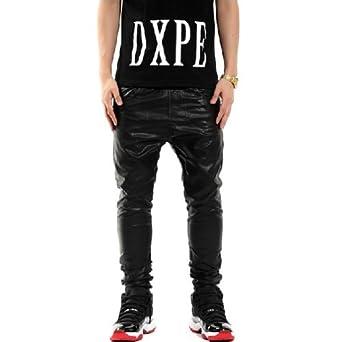 Zero Men's Hipster Luxury Faux Leather Harem Elastic Pants (30, Y0506)