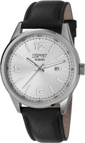 Esprit  Menlo - Reloj de cuarzo para hombre, con correa de cuero, color negro