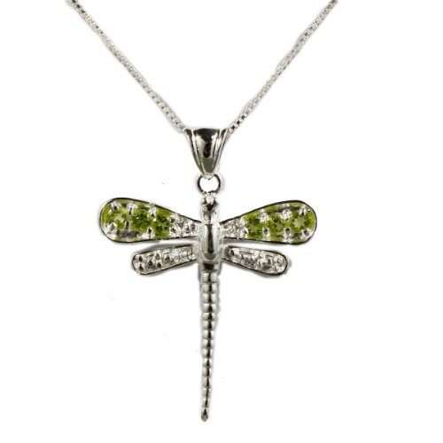 Sterling Silver Dragonfly pendant on 18