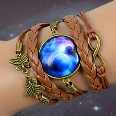 Brown Galaxy Beautiful Foreign Diy Butterfly Eight Word Starry Sky Time Gem Handmade Twine Alloy Glass Leather Warp Bracelet By Chonlyshop