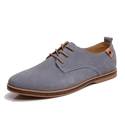 Feng Mens lace up leather Board shoes EU44 Grey