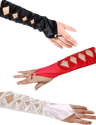 Yummy Bee Women's Long Satin Fingerless Evening Gloves
