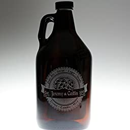 Personalized Engraved Wedding Gift Double Hop Ray with Banner Art Growler