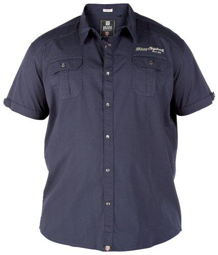 Duke Men's Casual Short Sleeve Western Shirt Blue 6XL
