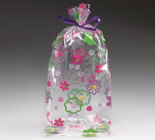 (10) Flower Groove Cello Birthday Party Baby Shower Favor Gift Bag 11x5x2.5