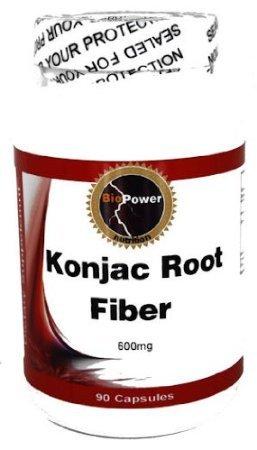 Konjac Root Fiber # 600 Mg 180 Capsules Konjac Root Fiber / Glucomannan For Constipation - Biopower Nutrition (2 Bottles)