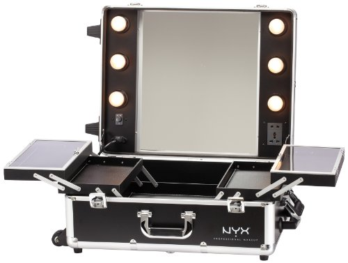 NYX Makeup Artist Train Case With Lights Extra Large Black Silver 1 Ounce L