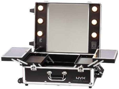 nyx makeup artist train case with lights extra large black silver 1. Black Bedroom Furniture Sets. Home Design Ideas