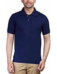 Fleximaa Men's Cotton Polo Collar T-Shirts With Pocket - Navy Blue Color