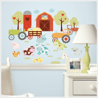 Barnyard 42 Big Wall Stickers Farm Animals Tractor Decals Barn Room Decor Decals front-1061579