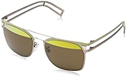 Police Mirrored Wayfarer Unisex Sunglasses (SK53649SN6HSG 49 Brown with Yellow Mirror on top lens)