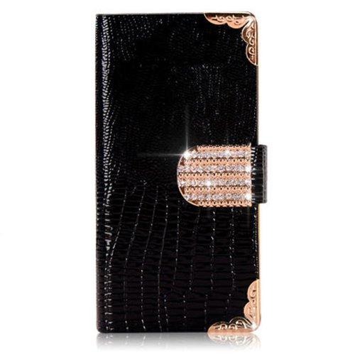 Angel's Wings Bling Wallet Luxury Diamond Magnetic Flip Case for Samsung Galaxy Note 3 N9000 (Black)