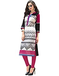EthnicCrush Women's Cotton Printed Kurti(ECHTBinto1520,Black & White)