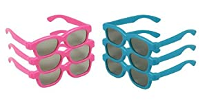 Children's Passive 3D Glasses for Kids - 6 PAIRS - (3-Pink 3-Blue) Vizio, LG, Toshiba, Phillips, JVC, Panasonic - 3D Cinema
