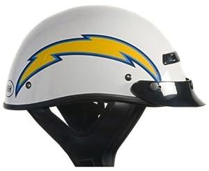 Brogies Bikewear NFL San Diego Chargers Motorcycle Half Helmet (White, Large) by Brogies Bikewear