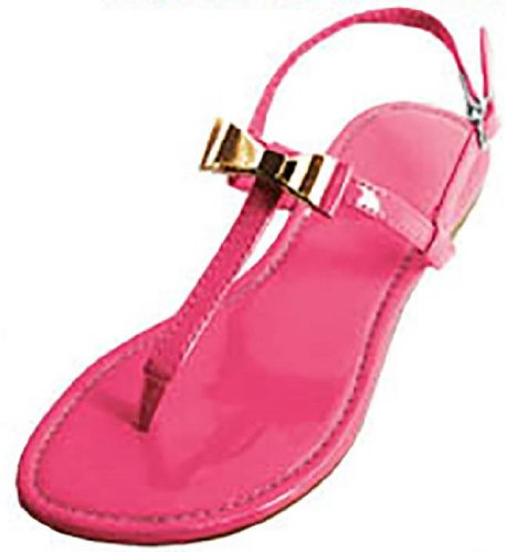 Womens T Strap Roman Gladiator Sandals Flats W/Bow (7/8, Coral Pink 6201)