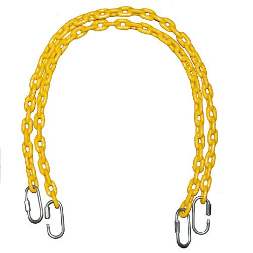 Fully Coated Chain 66 Inch Long + 4 Free Quick Links On Both Sides In Yellow Waterproof Chain Swingset Seat, Baby Swing, Toddler Swing, Trapeze Bar Playground Equipment Chain, Jungle Gym 2 (1 Pair) (Free Priority Shipping In Continental Usa) front-382286