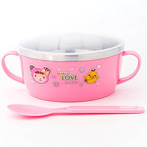 Fairy Baby Stainless Steel Baby Bowl and Spoon Set Warming Tableware,Pink (Food Warming Tables compare prices)