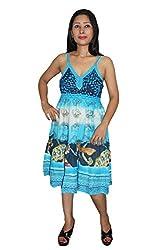 Indiatrendzs Women's Dress Floral Print Blue Casual Wear Cotton Midi Dress