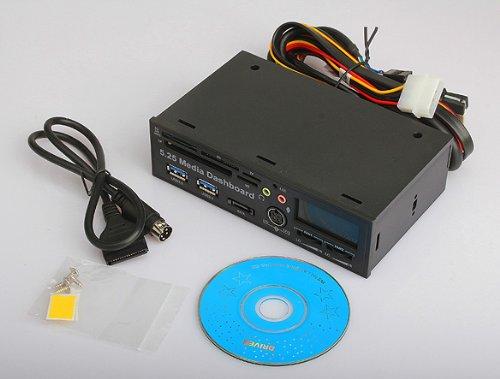Vktech New 5.25 Inch Usb3.0 Lcd Pci-E Dashboard Sata 5.0Gb/S Media Audio Card Reader Pc