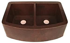 Novatto Redondeado 50/50 Curved Farmhouse Copper Kitchen Sink with Hand-Hammered Antique Finish